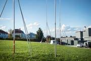 Seit Jahren stehen die Visiere, seit Jahren bleibt der Bau des Pflegezentrums in Mörschwil blockiert. (Bild: Ralph Ribi)