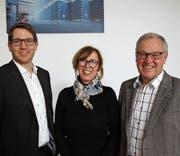Die neue Präsidentin Manuela Rohner (Wohnhaus Rohner) und das neue Vorstandsmitglied Michael Sieber (links) zusammen mit dem abtretenden Gründungspräsidenten Paul Sieber. (Bild: pd)