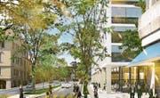 Noch kein Projekt, sondern eine Idee: So könnten der HSG-Campus und die St.-Jakob-Strasse dereinst aussehen. (Bild: Visualisierung: PD/Kanton St. Gallen)