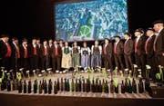 Das Jodelchörli St. Gallen Ost bei der Uraufführung der neuen Stadtsanktgaller Jodel-Hymne. (Bild: Ralph Ribi)