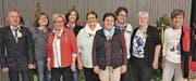 Die Geehrten (v. l.): Richard Weninger, SV St. Margrethen; Gaby Schlegel, SV Eichberg; Margrit Weder, SV Oberriet, 51 Jahre Aktivsamariterin; Emmi Marquart, Heidi Freund, Judith Gschwend, SV Eichberg; Karin Weder, SV Diepoldsau; Elisabeth Metzler, SV Balgach, 30 Jahre Kurs-/Technische Leiterin; Isabelle Kehl, SV Eichberg. (Bild: Elvira Frey)