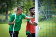 St.Gallen neuer und alter Captain: Martin Angha (links) und Nzuzi Toko. (Bild: Ralph Ribi)