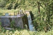 Neben der Staumauer, dort wo die Visiere stehen, soll die Kammer für das künftige Kleinwasserkraftwerk gebaut werden. (Bilder: Zita Meienhofer)