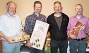 Die Besten der FSGM: (v. l.) Walter Loher (Sieger Veteranen), Marco Dintheer (Vereinsmeister), Lars Hasler (Sieger Gruppe A) und Werner Wittwer (Sieger Saustich). (Bild: pd)
