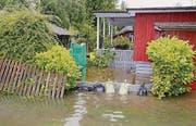 Der überschwemmte Campingplatz Marina Rheinhof in Altenrhein. (Bild: Rudolf Hirtl)