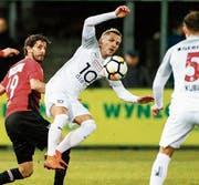 Egzon Shabani im Spiel gegen den FC Aarau. (Bild: Marc Schumacher/freshfocus)
