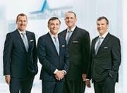 Die Geschäftsleitung der Alpha Rheintal Bank blickt auf ein erfolgreiches Jahr 2017 (von links): Roland Bartholet (Leiter Anlagekunden), Stefan Frei (Vorsitzender der Geschäftsleitung), Andreas Reis (Leiter Services) und Reto Monsch (Leiter Privat- und Firmenkunden). (Bild: pd)