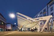 Die von Architekt Santiago Calatrava gestaltete ÖV-Wartehalle am Bohl. (Bild: Hanspeter Schiess)