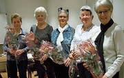 Die fünf geehrten Turnerinnen (von links): Ruth Lenherr, Susi Thoma (beide 40 Jahre), Anni Graf, Rösli Ritz (beide 30 Jahre) sowie Theres Chilese (40 Jahre). (Bild: PD)