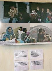 Die Bilder im Festsaal St. Katharinen zeigen das harte Leben von Flüchtlingen. (Bild: Bettina Sieber)
