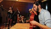 Die Landstreichmusik mit «Giigämaa» Matthias Lincke, Dide Marfurt, Matthias Härtel und Elias Menzi. (Bild: Michael Hug)