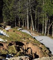 Für die Anwohner des Gebietes Rumpf in Wattwil gab es für längere Zeit kein Durchfahren mehr. Metertief rutschte die Rumpfstrasse Anfang März ab und und musste aufwendig saniert werden. (Bild: Urs M. Hemm)