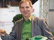 St. Gallen - OLMA Amt für Umweltschutz Neuer Behälter für Grünabfuhr heisst Verdi Einweihung mit Peter Jans Stadtrat (Bild: (Ralph Ribi))