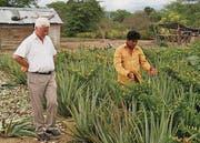 Padre Bertram auf einem Aloe-Vera-Feld in Ecuador. (Bild: pd)