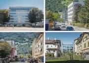 Das regionale Verwaltungszentrum am Bahnhofplatz und der Hauptsitz der ÖKK sind die auffälligsten Beispiele einer sorgfältigen Erneuerung. (Bild: Michel Canonica)