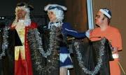 Das Dreigestirn der Kriessner Fasnacht: Baron, Prinzessin und Heinricha Johann. (Bilder: Max Pflüger)