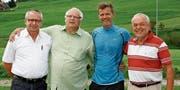 FC-Bazenheid-Sportchef Hans «Hasä» Stadler, Berater Roland Leemann, Alain Sutter und FC-Bazenheid-Präsident Markus Böni (von links). (Bild: Beat Lanzendorfer)
