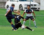 Dem FC Arbon stellte sich in seinen Angriffsbemühungen immer noch ein Bein in den Weg. (Bild: Urs Nobel)
