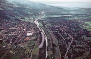 Trassee der Autobahn bei St. Margrethen: Eine Flugaufnahme, die zwischen 1960 und 1970 entstanden ist. (Bild: Staatsarchiv St. Gallen)