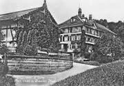 Das «Nest» an der Verzweigung Obere Bernegg- und Neststrasse in den 1930er-Jahren. Vorne der Saal, hinten das Restaurant und die Pension.