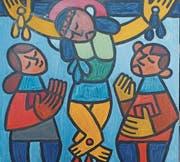 Die Kreuzigung Jesu, wie sie der Widnauer Künstler Josef Alge gesehen hat. (Bild: Susi Miara)