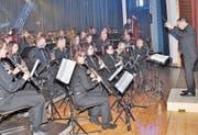 Erstmals stand beim Rüthner Gala-Abend die Musikgesellschaft unter der Leitung von Michael Wachter. (Bild: René Jann)