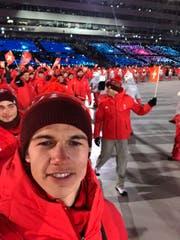 An der Eröffnungsfeier in Pyeongchang trug Jan Scherrer einen Teil der käuflichen Kleider. (Bild: Jan Scherrer)