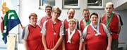 Die Gruppe von Plusport Behindertensport Rheintal mit den Gewinnern (v. l.) Susi Wick, Helferin; Christof Frei, Julien Kaufmann, Remo Graf, Nicole Hutter, Hermann Schock, Helen Roduner, Edgar Hurni. (Bild: Rösli Zeller)