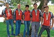 MSV Wiesen: Pascal Breitenmoser, Lukas Brändle, Betreuerin Erika Breitenmoser, Nico Bollhalder und Reto Breitenmoser (von links). (Bild: PD)
