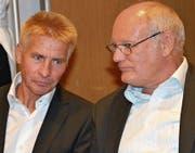 Urs Steiger, UBS Wattwil, Ruedi Lieberherr, Geschäftsführer Morga AG, Ebnat-Kappel (von links).