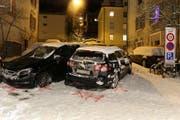 Vier Fahrzeuge rutschten ineinander. (Bild: Stapo SG)