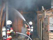 Der Brand im Strohlager konnte rasch gelöscht werden. (Bild: Kapo SG)