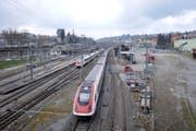 Rund um den Bahnhof St.Fiden soll ein neuer Stadtteil entstehen. (Bild: Urs Bucher)