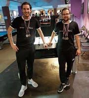 Am internationalen Turnier in Riga gewannen Pascal Nater (links) und Thomas Ziegler Medaillen im Einzel sowie als Team. (Bild: PD)