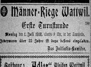 Das Inserat, mit dem die Männerriege 1918 darauf aufmerksam machte, dass jeden Montagabend ab 20 Uhr die Möglichkeit zum Turnen besteht. (Bild: PD)