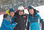 Hannes Trinkl, Beni Giger und Bernhard Russi in Pyeongchang (von links). (Bild: PD)
