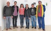 Die Mitglieder der Jury, die sechs Werke bestimmte (von links): Dieter Gassebner, Florian Gerer, Cornelia Kolb-Wieczorek, Kathrin Frauenfelder, Kuspi und Willi Meusburger. (Bild: Maya Seiler)