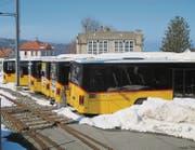 Auf dem Bahnhofareal in Heiden stehen seit einigen Wochen ausgemusterte Postautos. Was genau mit ihnen geschehen soll, ist noch unklar. (Bild: Peter Eggenberger)