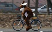 Ein Velofahrer im Osterhasenkostüm: An Ostern wird es kalt und nass. (Bild: Keystone)