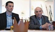 SVP-Ortsparteipräsident Felix Würth und Stadtrat Stefan Koster, der Stadtpräsident werden möchte, im Schloss Hagenwil. (Bild: Manuel Nagel)
