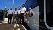 Freuen sich über die Modernisierung der Frauenfeld-Wil-Bahn: Roland Steingruber, Andreas Liniger, Werner Müller und Sigi Lechner. (Bild: Nana do Carmo)