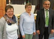 Die neue Vorstandsfrau Marlene Tobler mit Rösi Räss und Sepp Koch. (Bild: MAB)