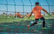 Beim Elfmeterschiessen trainieren die Kleinsten ihre Fussballkünste. (Bild: Jil Lohse)
