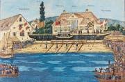 Das erste Dampfschiff um 1851 in Schaffhausen. (Bild: PD)
