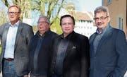 Die OK-Mitglieder Ueli Berger und Armin Eugster, Dirigent David Heer und Gemeindepräsident Erich Baumann. (Bild: Hannelore Bruderer)