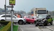 Kollision in Ruggell mit drei beteiligten Autos. (Bild: Landespolizei FL)