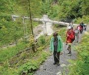 Die wandernden Senioren überquerten die Hebeltobelbrücke. (Bild: pd)