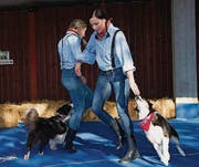 Im Vordergrund tanzt Regina Heeb aus St. Gallen mit Hund Benja, neben ihr Saskia Holderegger aus Felben-Wellhausen mit Saybia. (Bild: Andreas Taverner)