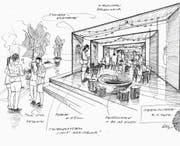 Eine Ideenskizze zeigt den geplanten Aufbau des «Altstadtgartens». (Bild: Illustration und Blder: PD)