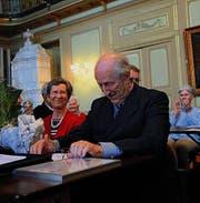Die angeblich aufgelöste Bürgergemeinde Frauenfeld verlieh ihrem Archivar Angelus Hux im Januar 2013 die Ehrenmitgliedschaft. (Archivbild: Nana do Carmo)